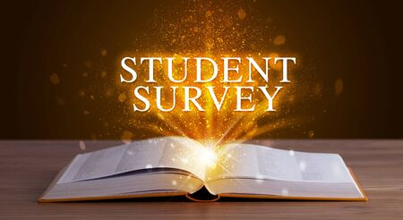 STUDENT SURVEY inscription coming out from an open book, educational concept Stock fotó