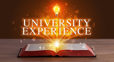 UNIVERSITY EXPERIENCE inscription coming out from an open book, educational concept 写真素材