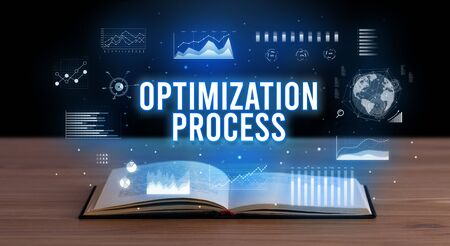 OPTIMIZATION PROCESS inscription coming out from an open book, creative business concept