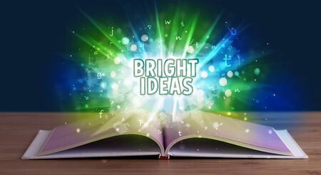 BRIGHT IDEAS inscription coming out from an open book, educational concept