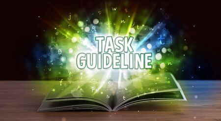 TASK GUIDELINE inscription coming out from an open book, educational concept Stock fotó