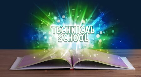 TECHNICAL SCHOOL inscription coming out from an open book, educational concept Stock fotó - 133615759