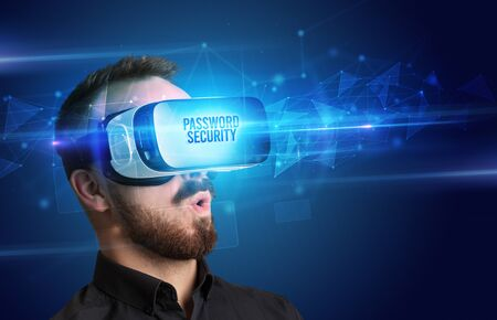 Businessman looking through Virtual Reality glasses with PASSWORD SECURITY inscription, cyber security concept Stock Photo