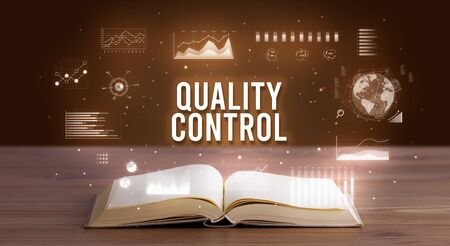 QUALITY CONTROL inscription coming out from an open book, creative business concept