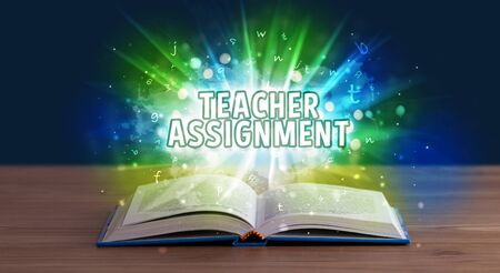 TEACHER ASSIGNMENT inscription coming out from an open book, educational concept