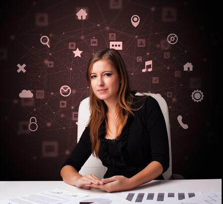 Secretary work with office and multitask concept Reklamní fotografie - 133683448