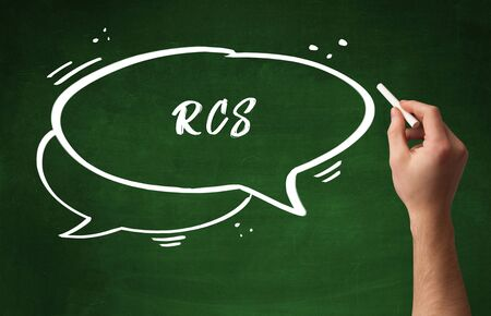 Hand drawing RCS abbreviation with white chalk on blackboard