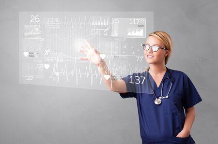 Doctor touching hologram screen displaying healthcare running symbols 版權商用圖片 - 134841186