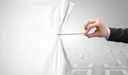 Hand pulling paper curtain, changing scene concept Reklamní fotografie