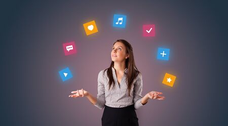 Young person juggle with application icons Stok Fotoğraf - 134841238