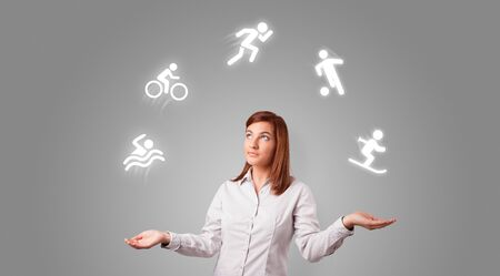 Young student juggle with sports concept