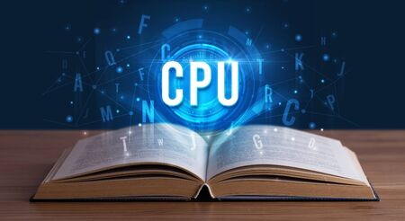 CPU inscription coming out from an open book, digital technology concept