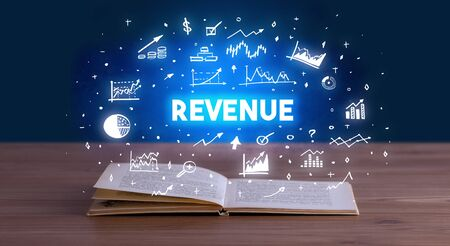 REVENUE inscription coming out from an open book, business concept