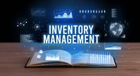 INVENTORY MANAGEMENT inscription coming out from an open book, creative business concept Stock fotó