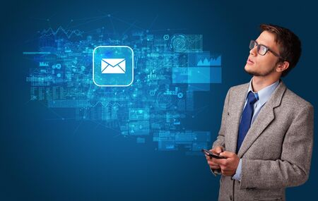 Young person using phone with mail and online communication concept