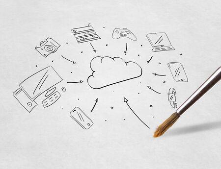 Pencil drawing online task management concept