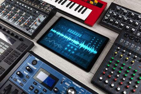 Music instruments and tablet with recording sound concept