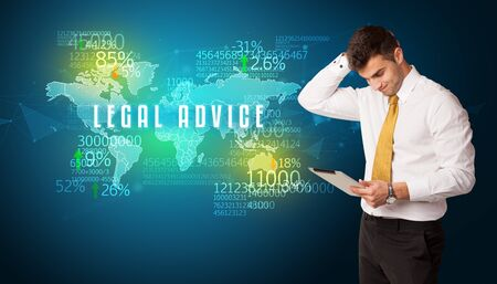 Businessman in front of a decision with LEGAL ADVICE inscription, business concept Stockfoto
