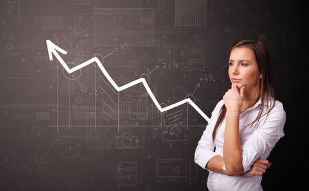Young person standing with increasing graph concept Stock fotó