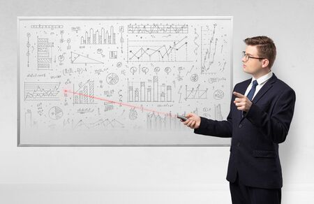 Professor with laser pointer teaching geometry Stock Photo