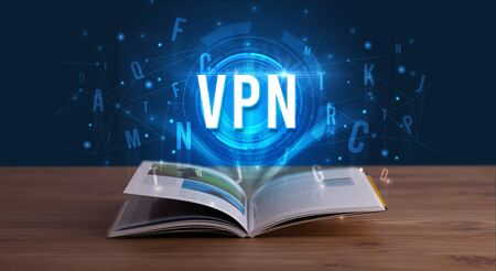 VPN inscription coming out from an open book, digital technology concept Zdjęcie Seryjne