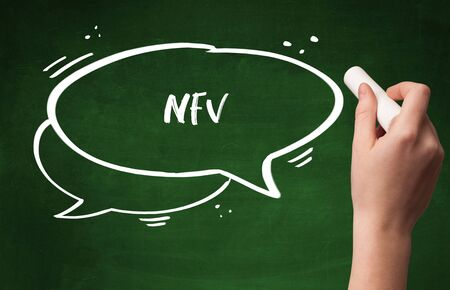 Hand drawing NFV abbreviation with white chalk on blackboard