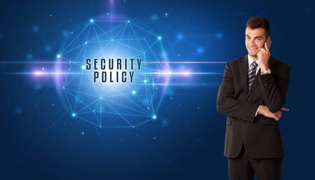 Businessman thinking about security solutions with SECURITY POLICY inscription