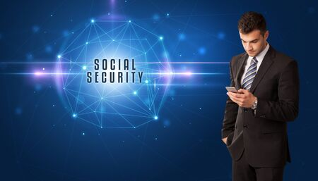 Businessman thinking about security solutions with SOCIAL SECURITY inscription