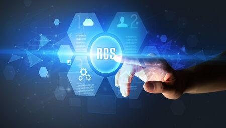 Hand touching RCS inscription, new technology concept