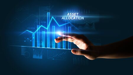 Hand touching ASSET ALLOCATION button, business concept