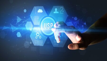 Hand touching USP inscription, new technology concept