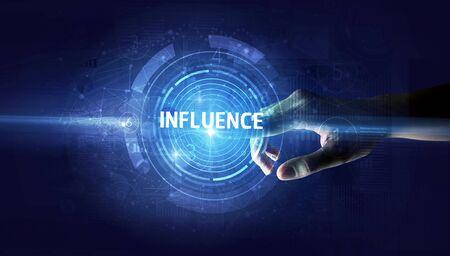 Hand touching INFLUENCE button, modern business technology concept Standard-Bild