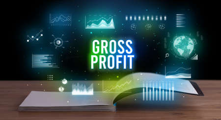 GROSS PROFIT inscription coming out from an open book, creative business concept