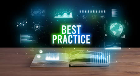 BEST PRACTICE inscription coming out from an open book, creative business concept Foto de archivo