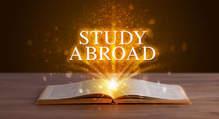 STUDY ABROAD inscription coming out from an open book, educational concept Foto de archivo