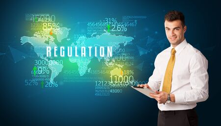 Businessman in front of a decision with REGULATION inscription, business concept