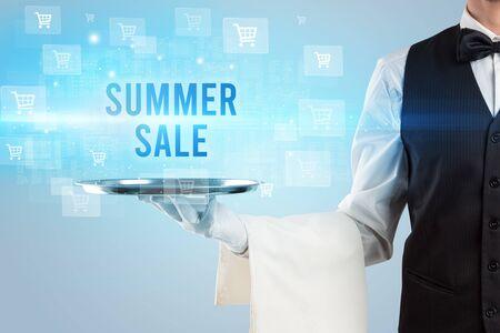Waiter serving SUMMER SALE inscription, online shopping concept