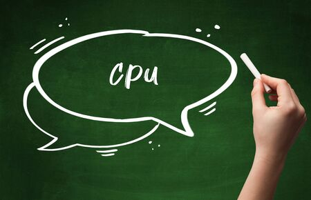 Hand drawing CPU abbreviation with white chalk on blackboard Banco de Imagens