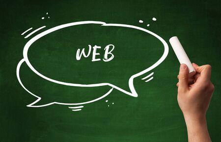 Hand drawing WEB abbreviation with white chalk on blackboard Banco de Imagens