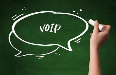 Hand drawing VOIP abbreviation with white chalk on blackboard