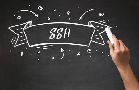 Hand drawing  SSH  abbreviation with white chalk on blackboard