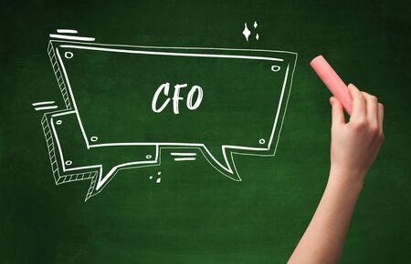 Hand drawing  CFO  abbreviation with white chalk on blackboard