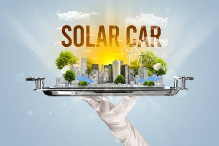 Waiter serving eco city with SOLAR CAR inscription, renewabke energy concept