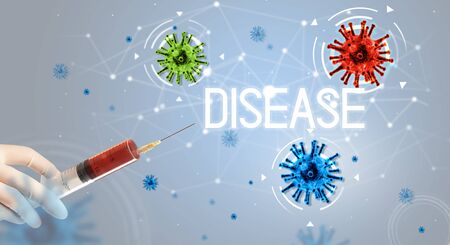 Syringe, medical injection in hand with DISEASE inscription, coronavirus vaccine concept Stock Photo