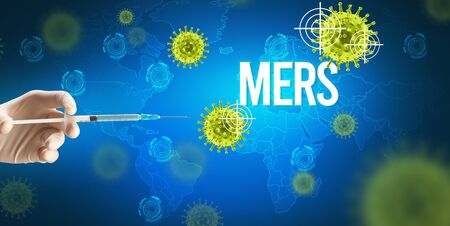 Close-up view of doctors hand in a white glove holding syringe with MERS inscription, coronavirus antidote concept Stock Photo