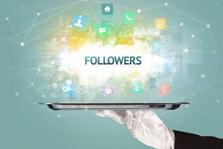 Waiter serving social networking concept with FOLLOWERS inscription