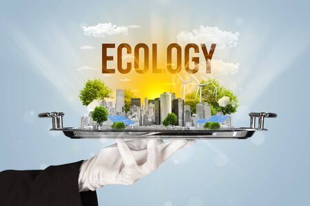Waiter serving eco city with ECOLOGY inscription, renewabke energy concept
