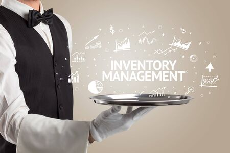 Waiter serving business idea concept with INVENTORY MANAGEMENT inscription