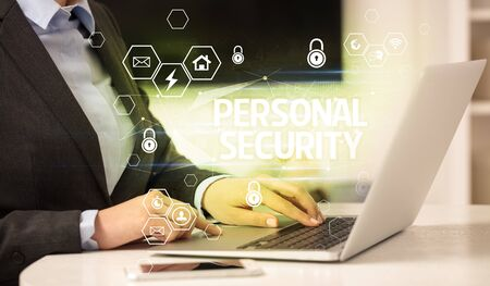 PERSONAL SECURITY inscription on laptop, internet security and data protection concept, blockchain and cybersecurity