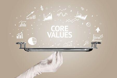 Waiter serving business idea concept with CORE VALUES inscription